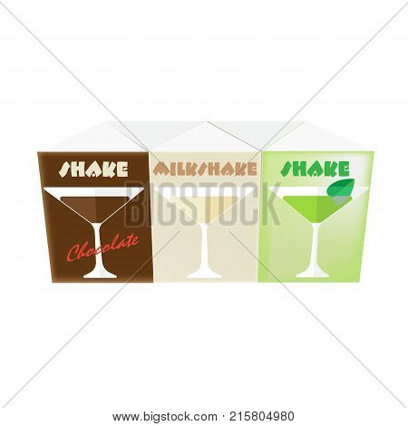 Blank white realistic colorful boxes for juice and shake: milk, chocolate. Mock-up packages templates with screw cap. White cardboard brick package for juice, shake or beverage. Vector illustration.