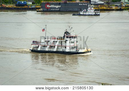 NEW ORLEANS - MAY. 29, 2017: Ferry Boat Col. Frank X Armiger on Mississippi River in New Orleans, Louisiana, USA.