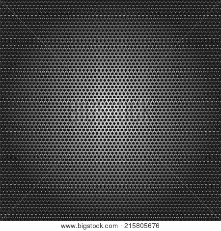 Speaker grille texture, black metallic background, vector illustration