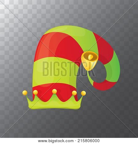 vector funky red and green stripped cartoon christmas elf hat isolated on transparent background. vector kids colorful elf hat icon or label. Christmas decorative design element for banner or poster