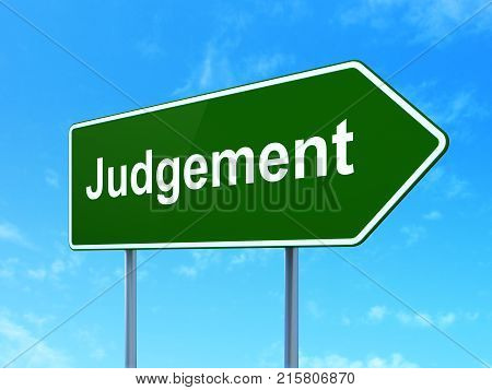 Law concept: Judgement on green road highway sign, clear blue sky background, 3D rendering poster