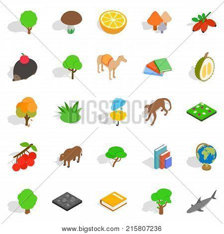 Biology icons set. Isometric set of 25 biology vector icons for web isolated on white background