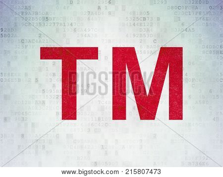 Law concept: Painted red Trademark icon on Digital Data Paper background