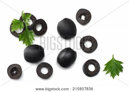 Marinated Slices Black Olives Isolated On White Background. Top View