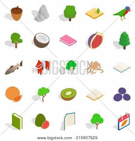 Biological science icons set. Isometric set of 25 biological science vector icons for web isolated on white background