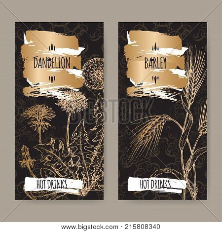 Set of two labels with Dandelion aka Taraxacum officinale and Barley aka Hordeum vulgare on black. Used as coffee substitute. Hot drinks collection. Great for cafe, bars, tea ads.