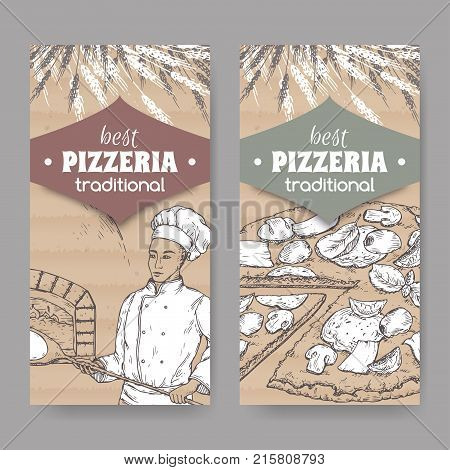 Set of 2 pizzeria label templates with baker, oven and pizza on cardboard texture. Great for pizzeria, bakery and restaurant, cafe ads, brochures, labels.