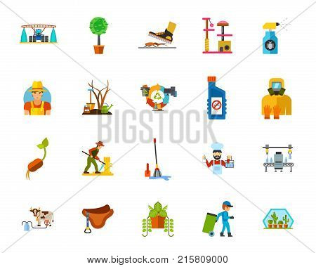 Farming icon set. Can be used for topics like insecticide, planting, agriculture, gardening