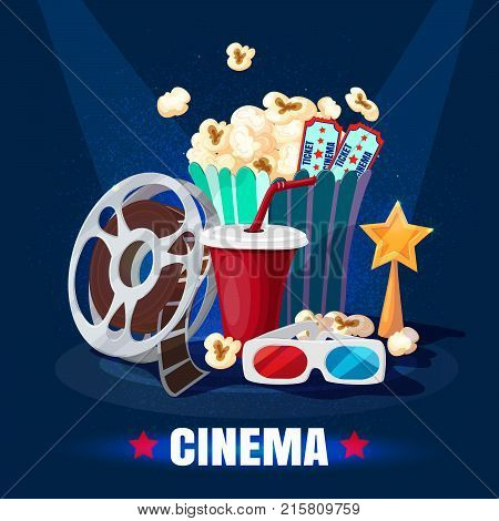 Colorful cinematography template with popcorn soda 3D glasses film reel tickets movie golden star award vector illustration