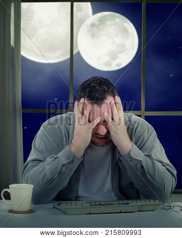 Mentally Unstable Man On Two Moons Background