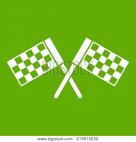 Crossed chequered flags icon white isolated on green background. Vector illustration