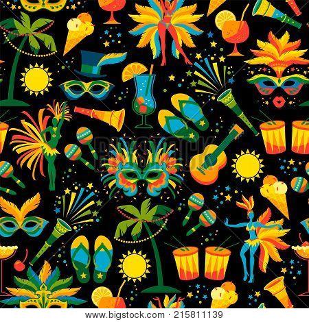 Brazilian Carnival. Vector seamless pattern. Design elements.