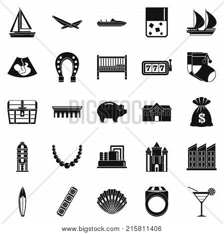 Wealth icons set. Simple set of 25 wealth vector icons for web isolated on white background