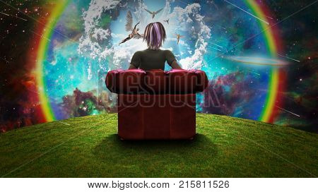 Surreal composition. Woman sits in red armchair and observing Angels in vivid sky. 3D rendering.