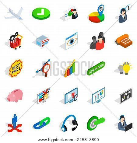 Biz icons set. Isometric set of 25 biz vector icons for web isolated on white background