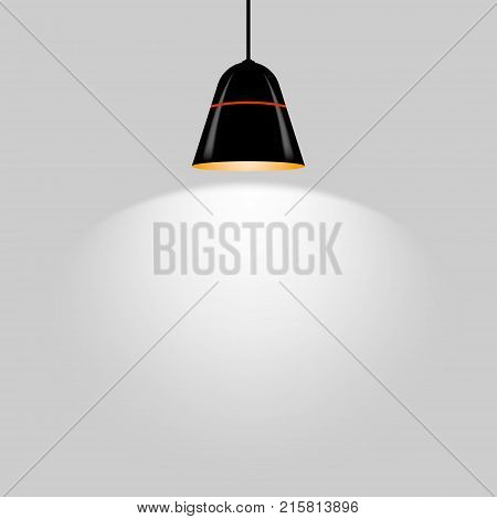 one black ceiling lamp vector illustration ESP