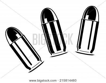 Vector set of bullets for pistol. 45 caliber