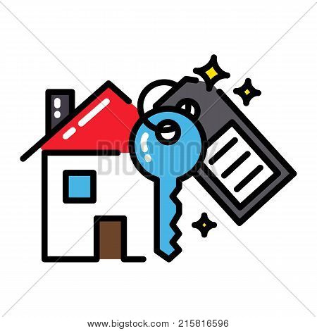 Mortgage house icon concept key black outline colorful isolated vector
