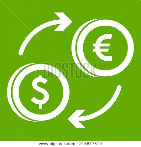 Euro dollar euro exchange icon white isolated on green background. Vector illustration