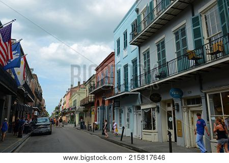 NEW ORLEANS - MAY. 29, 2017: Historic Buildings on Royal Street between Toulouse Street and St Louis Street in French Quarter in New Orleans, Louisiana, USA.