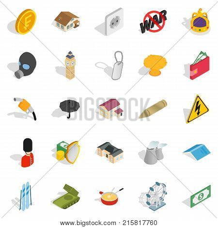 Profitable business icons set. Isometric set of 25 profitable business vector icons for web isolated on white background