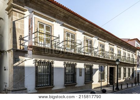 BRAGANCA, PORTUGAL - September 20, 2017: Elegant manor house of the eighteenth century known as Solar dos Veiga Cabral and located in the historic center of Braganca Portugal