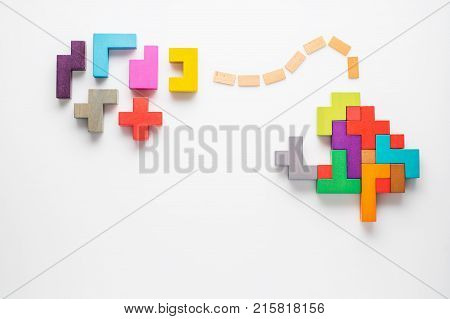 Human brain is made of multi-colored wooden blocks. Creative medical or business concept. Logical tasks. Conundrum find the missing piece of the proposed.
