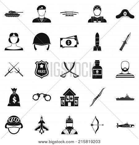 Weapon icons set. Simple set of 25 weapon vector icons for web isolated on white background
