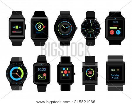 Vector Set of smart watches. Watches collection isolated on white background
