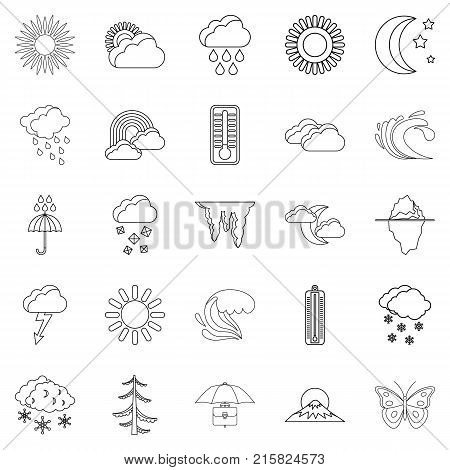 Ambiance icons set. Outline set of 25 ambiance vector icons for web isolated on white background