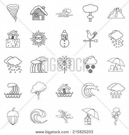 Rainy weather icons set. Outline set of 25 rainy weather vector icons for web isolated on white background