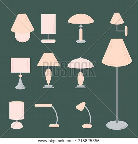 Vector set of different types of indoor lighting pendant, ceiling light, spotlight, wall light, table shade lamps, reading lamp and floor lamp. Flat style.