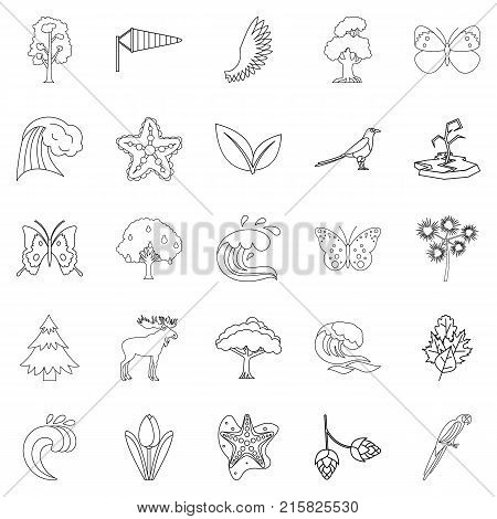 Temperate climate icons set. Outline set of 25 temperate climate vector icons for web isolated on white background