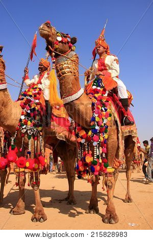 Jaisalmer, India - February 16: Unidentified Men Take Part In Desert Festival On February 16, 2011 I