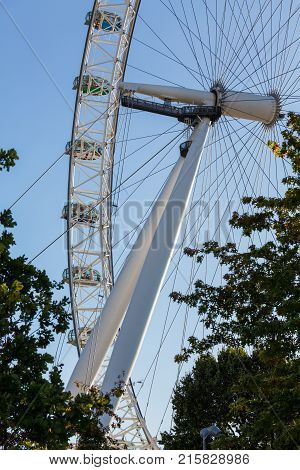 LONDON, UK - OCTOBER 1, 2015: Detail of London Eye  on South Bank of River Thames in London England