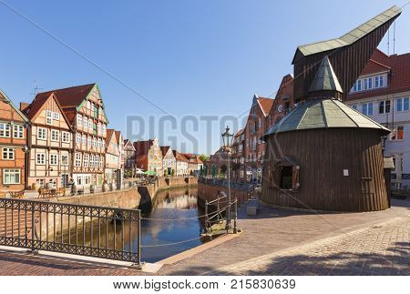 Old harbor and historic crane at the old town of Stade, Lower Saxony, Germany