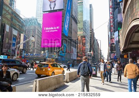 New York City, United States - November 2, 2017:   Citylife and traffic on Manhattan's avenue near Times Square