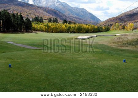 Golf Tee Box In The Mountains