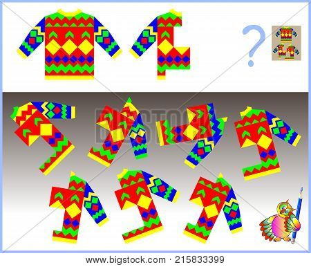 Logic puzzle. Need to find the only one correct  half of sweater which corresponds to pattern. Vector image.