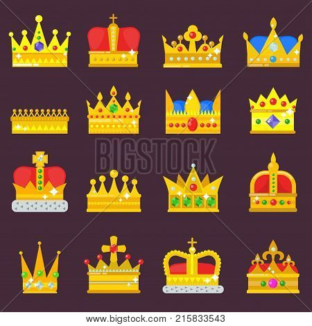 Crown vector set golden royal jewelry symbol of king queen princess crowning prince authority crown jeweles isolated illustration.