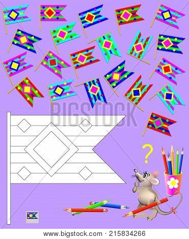 Logic puzzle for children. Need to find two identical flags and paint black and white drawing in corresponding colors.