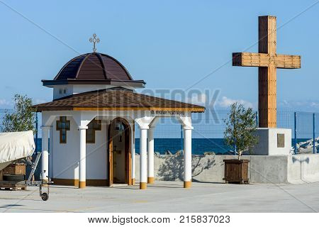 POMORIE BULGARIA - AUGUST 26 2017: Chapel of St. Nicholas in the sea port of the seaside resort town of Pomorie.