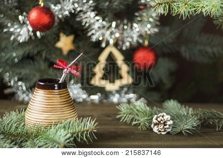 yerba mate under christmas tree. yerba mate christmas background