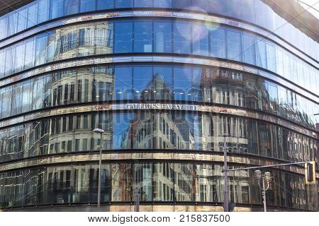 Glass Facade Of Galeries Lafayette Building In Berlin, Germany