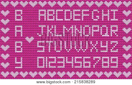 Baby fabric script for girl. Cute knitted abc alphabet, knitting pattern, girl purple fabric background framed with little hearts. Useful for cards, invitations, design.