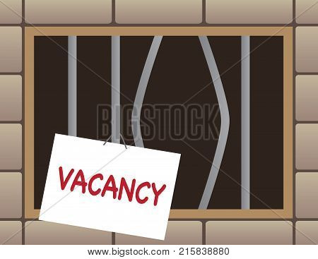 Jail cell window has bent bars and a vacancy sign