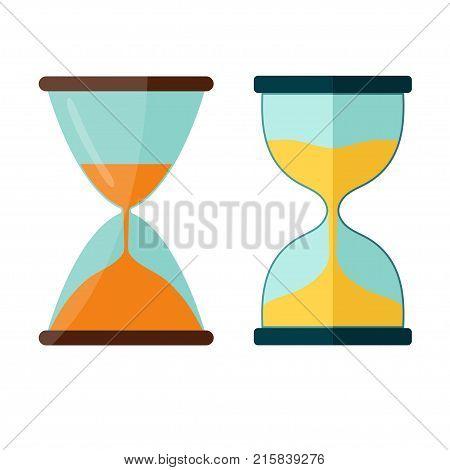 Hourglass icon, Transparent sandglass, sandclock antique instrument flat design. Vector