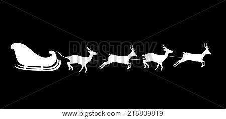 White silhouette of Santa's sledge Isolated on black background. Vector illustration, icon, clip art.