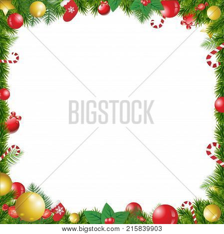 Christmas Tree Decorated Frame Isolated On White Background With