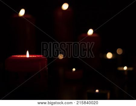 Christmas Candles At Night